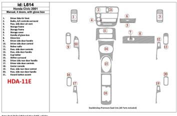 Renault Thalia 05.02 - 12.05 Interior Dashboard Trim Kit Dashtrim accessories, wood grain, camouflage, carbon fiber, aluminum da