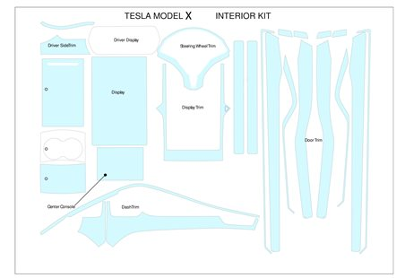 Tesla Model X From 2017 Interior Protector Scratch UVResistant DecalFull Set