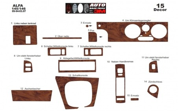Alfa Romeo 145 146 09.94 - 03.97 Mittelkonsole Armaturendekor Cockpit Dekor 15 -Teile