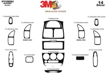 Nissan Micra 03.98 - 12.02 Interior Dashboard Trim Kit Dashtrim accessories, wood grain, camouflage, carbon fiber, aluminum dash