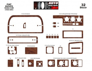 Mitsubishi Temsa Prestige 09.2010 Mittelkonsole Armaturendekor Cockpit Dekor 7 -Teile