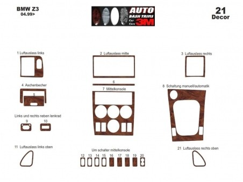 Audi A6 C5 Typ 4B 05.97 - 05.01 Interior Dashboard Trim Kit Dashtrim accessories, wood grain, camouflage, carbon fiber, aluminum