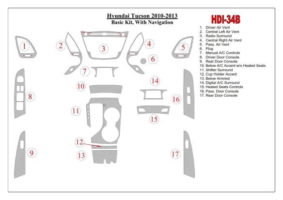 Daewoo Leganza 09.1997 Mittelkonsole Armaturendekor Cockpit Dekor 18 -Teile