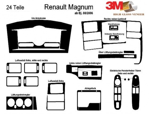 Renault Magnum 08.2006 3M 3D Car Tuning Interior Tuning Interior Customisation UK Right Hand Drive Australia Dashboard Trim Kit