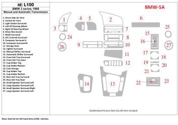 BMW X5 E53 05.2000 Interior Dashboard Trim Kit Dashtrim accessories, wood grain, camouflage, carbon fiber, aluminum dash kits 23