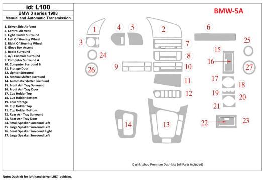 BMW X5 E53 05.2000 Mittelkonsole Armaturendekor Cockpit Dekor 23 -Teile