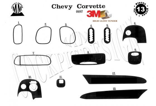 Chevrolet Corvette 09.1997 3M 3D Car Tuning Interior Tuning Interior Customisation UK Right Hand Drive Australia Dashboard Trim