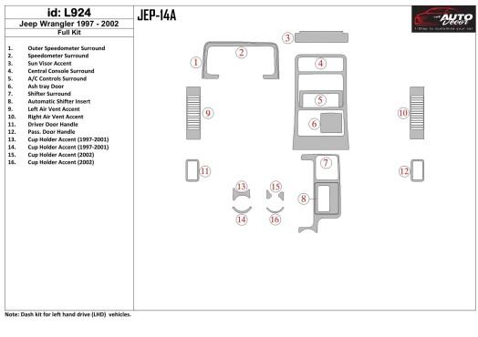 Mercedes 0 403 01.93 - 01.00 Mittelkonsole Armaturendekor Cockpit Dekor 16 -Teile