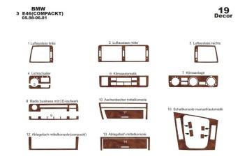 Chevrolet Lacetti Sedan 03.2004 Mittelkonsole Armaturendekor Cockpit Dekor 15 -Teile