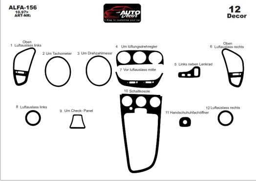 Alfa Romeo 156 10.1997 3M 3D Car Tuning Interior Tuning Interior Customisation UK Right Hand Drive Australia Dashboard Trim Kit