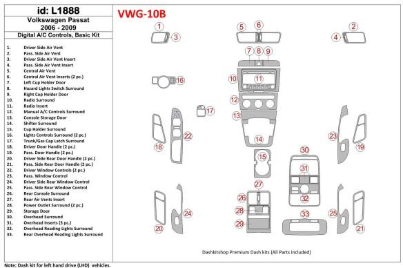 Mazda 6 2009-2013 3M 3D Car Tuning Interior Tuning Interior Customisation UK Right Hand Drive Australia Dashboard Trim Kit Dash