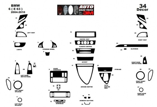 BMW 6-Series E 63 2004-2010 3M 3D Car Tuning Interior Tuning Interior Customisation UK Right Hand Drive Australia Dashboard Trim