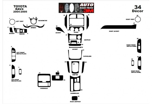 Toyota Rav 4 XA20 11.03-12.04 3M 3D Car Tuning Interior Tuning Interior Customisation UK Right Hand Drive Australia Dashboard Tr