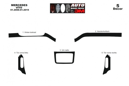 Mercedes Vito W639 2006-2015 3M 3D Car Tuning Interior Tuning Interior Customisation UK Right Hand Drive Australia Dashboard Tri