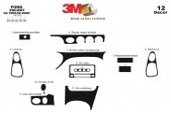 Ford Escord 02.95-02.00 3M 3D Car Tuning Interior Tuning Interior Customisation UK Right Hand Drive Australia Dashboard Trim Kit