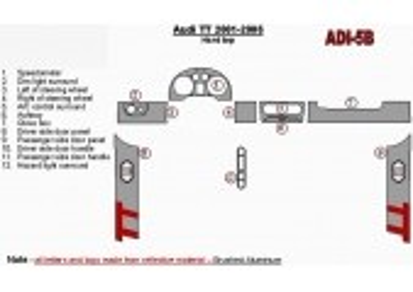 Audi TT 2001-2006 Soft roof-Coupe, 12 Parts set Interior BD Dash Trim Kit Car Tuning Interior Tuning Interior Customisation UK R