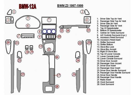 BMW Z3 1997-1999 Full Set Interior BD Dash Trim Kit Car Tuning Interior Tuning Interior Customisation UK Right Hand Drive Austra