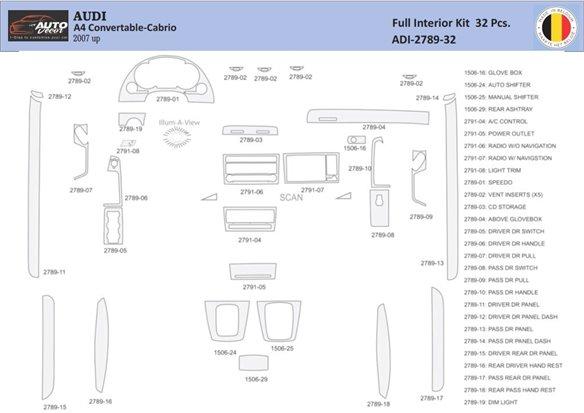 BMW 3 2005-UP 4 Doors Sedan, Without NAVI system Interior BD Dash Trim Kit Car Tuning Interior Tuning Interior Customisation UK