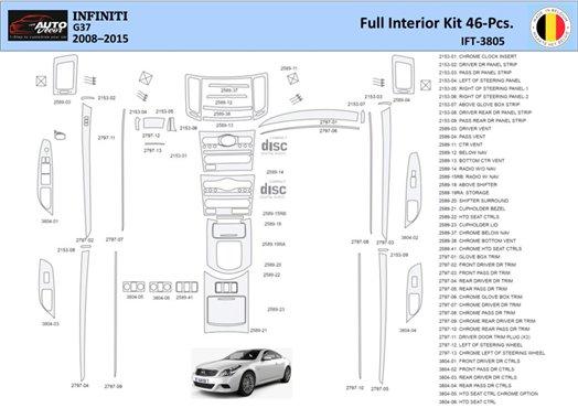 Chrysler Pacifica 2005-UP Full Set Interior BD Dash Trim Kit Car Tuning Interior Tuning Interior Customisation UK Right Hand Dri