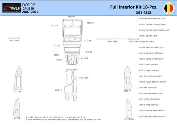 Chevrolet HHR 2008-2008 Basic Set Interior BD Dash Trim Kit Car Tuning Interior Tuning Interior Customisation UK Right Hand Driv
