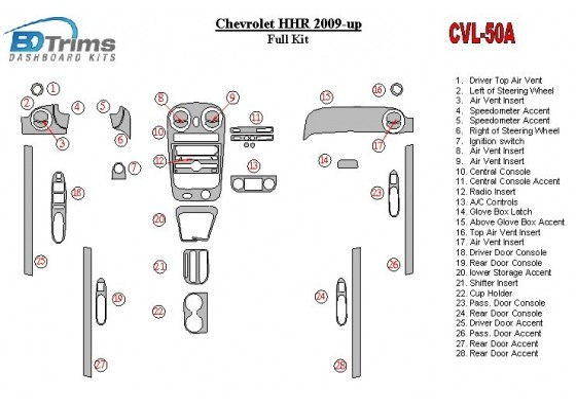 Chevrolet HHR 2009-UP Full Set Interior BD Dash Trim Kit Car Tuning Interior Tuning Interior Customisation UK Right Hand Drive A