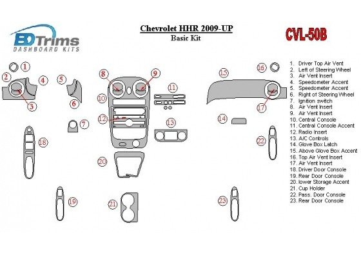 Chevrolet HHR 2009-UP Basic Set Interior BD Dash Trim Kit Car Tuning Interior Tuning Interior Customisation UK Right Hand Drive