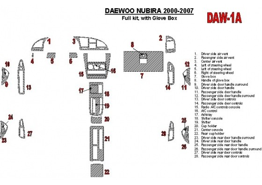 Daewoo Nubira 2000-2007 Full Set, with glowe-box Interior BD Dash Trim Kit Car Tuning Interior Tuning Interior Customisation UK