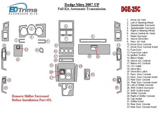 Dodge Nitro 2007-UP Full Set, Automatic Gear Interior BD Dash Trim Kit Car Tuning Interior Tuning Interior Customisation UK Righ