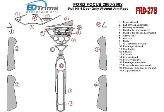 Ford Focus 2000-2002 Full Set, Without Armrest, 4 Doors, 18 Parts set Interior BD Dash Trim Kit Car Tuning Interior Tuning Inter