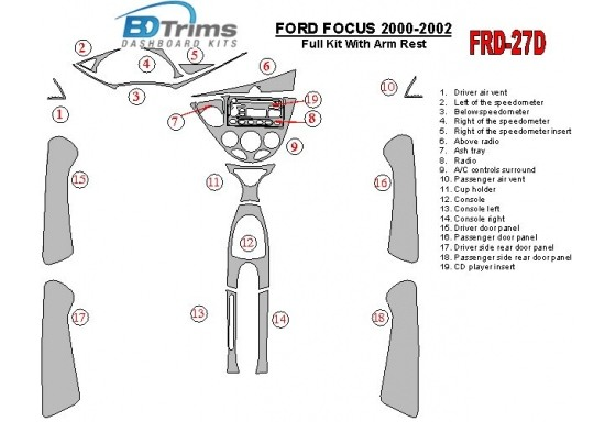 Ford Focus 2000-2002 Full Set, With Arm Rest, 4 Doors, 18 Parts set Interior BD Dash Trim Kit Car Tuning Interior Tuning Interio