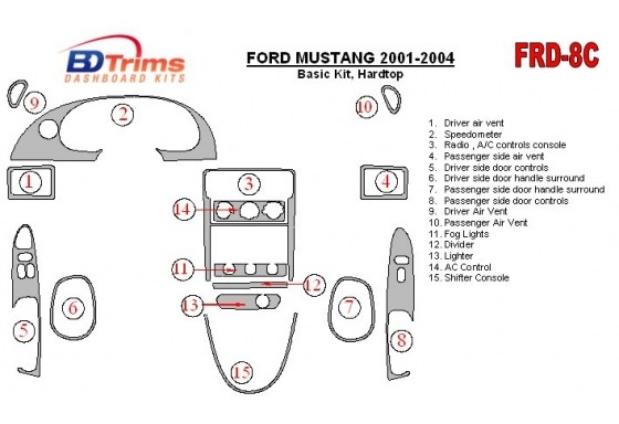 Ford Mustang 2001-2004 Soft roof-Coupe, Basic Set, 8 Parts set Interior BD Dash Trim Kit Car Tuning Interior Tuning Interior Cus