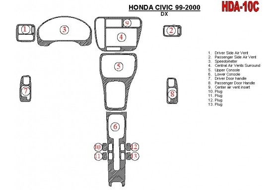 Honda Civic 1999-2000 DX, 13 Parts set Interior BD Dash Trim Kit Car Tuning Interior Tuning Interior Customisation UK Right Hand