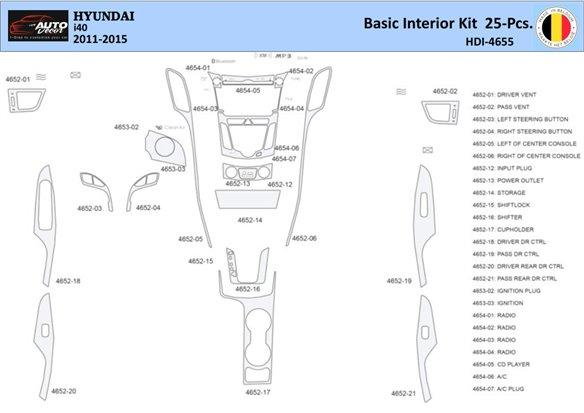 Honda Civic 2001-2001 Automatic Gearbox, 4 Doors, Without glowe-box, 20 Parts set Interior BD Dash Trim Kit Car Tuning Interior