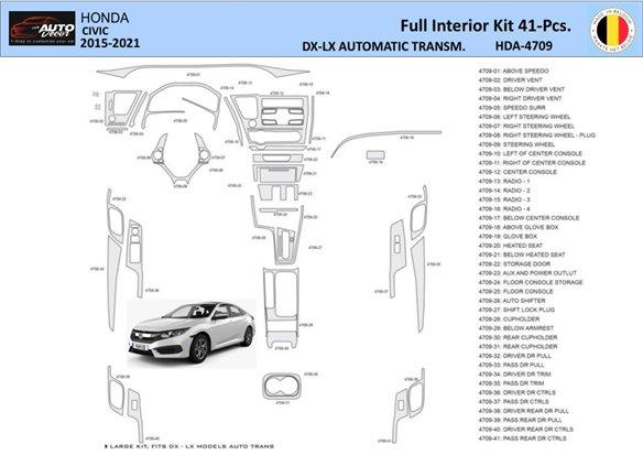 Honda Civic 2001-2001 Manual Gearbox, 4 Doors, with glowe-box, 21 Parts set Interior BD Dash Trim Kit Car Tuning Interior Tuning