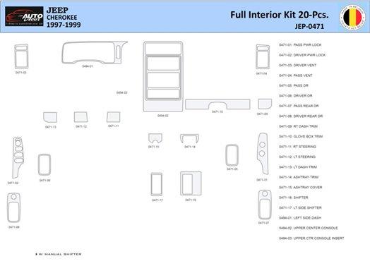 Honda Civic 2001-2001 Manual Gearbox, 2 Doors, with glowe-box, 17 Parts set Interior BD Dash Trim Kit Car Tuning Interior Tuning