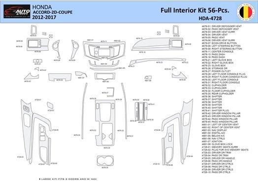 Honda Element 2008-UP Full Set, Automatic Gear Interior BD Dash Trim Kit Car Tuning Interior Tuning Interior Customisation UK Ri