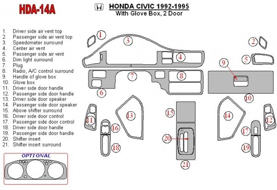 Honda Civic 1992-1995 2 Doors, With glowe-box Interior BD Dash Trim Kit Car Tuning Interior Tuning Interior Customisation UK Rig