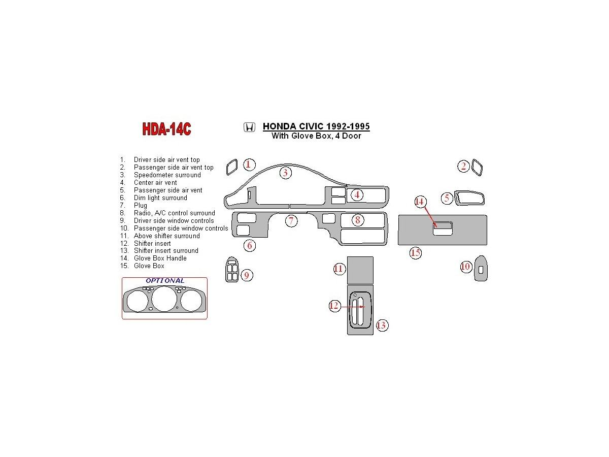 Honda Civic 1992 1995 4 Doors With Glowe Box Interior Bd Dash Trim Kit