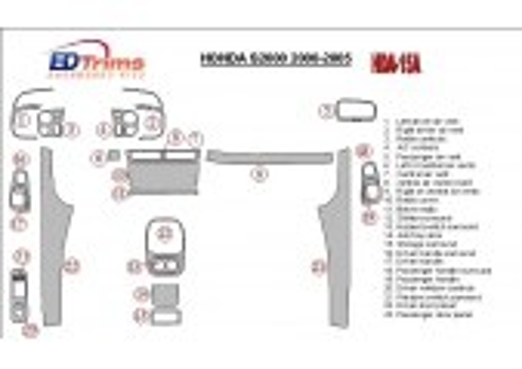 Honda S2000 2000-2005 Full Set, 23 Parts set Interior BD Dash Trim Kit Car Tuning Interior Tuning Interior Customisation UK Righ