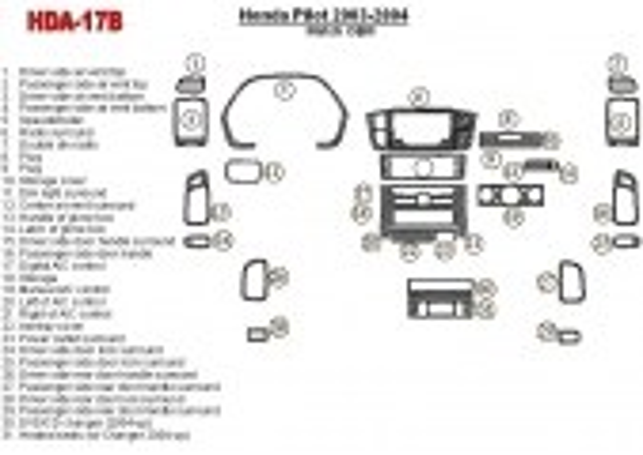 Honda Pilot 2003-2004 OEM Compliance, 29 Parts set Interior BD Dash Trim Kit Car Tuning Interior Tuning Interior Customisation U