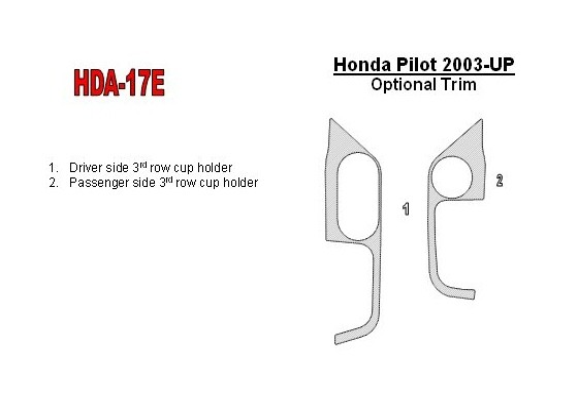 Honda Pilot 2003-2004 3rd Row Cupholder Interior BD Dash Trim Kit Car Tuning Interior Tuning Interior Customisation UK Right Han