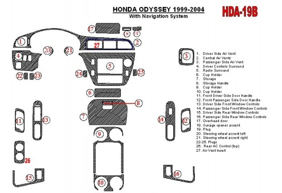 Honda Odyssey 1999-2004 With NAVI system, 26 Parts set Interior BD Dash Trim Kit Car Tuning Interior Tuning Interior Customisati
