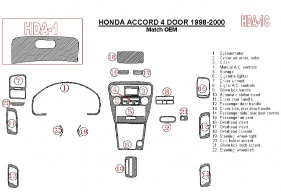 Honda Accord 1998-2000 4 Doors, OEM Compliance, 22 Parts set Interior BD Dash Trim Kit Car Tuning Interior Tuning Interior Custo