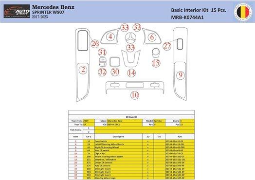 Honda Accord 1998-2000 2 Doors, Mtach OEM, 22 Parts set Interior BD Dash Trim Kit Car Tuning Interior Tuning Interior Customisat