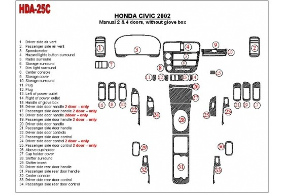 Honda Civic 2002-2002 Manual Gearbox, 2 or 4 Doors, Without glowe-box, 34 Parts set Interior BD Dash Trim Kit Car Tuning Interio