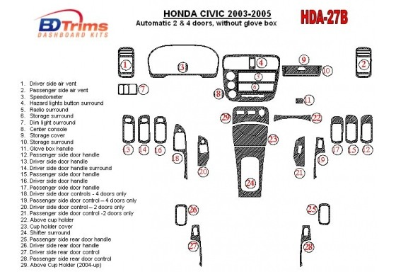 Honda Civic 2003-2005 Automatic Gear, 2 or 4 Doors, Without glowe-box Interior BD Dash Trim Kit Car Tuning Interior Tuning Inter