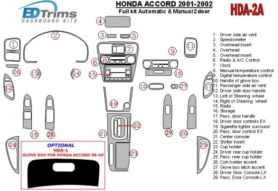 Honda Accord 2001-2002 2 Doors, Full Set, 27 Parts set Interior BD Dash Trim Kit Car Tuning Interior Tuning Interior Customisati