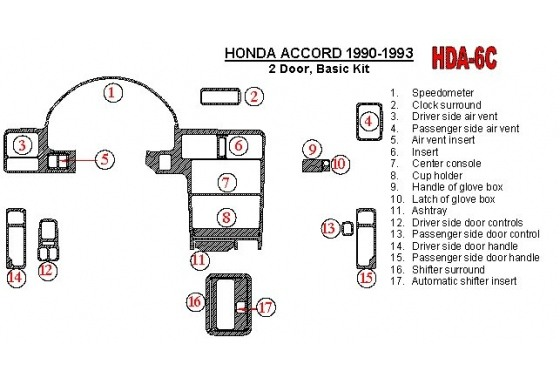 Honda Accord 1990-1993 2 Doors, Basic Set, 17 Parts set Interior BD Dash Trim Kit Car Tuning Interior Tuning Interior Customisat