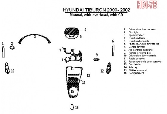Hyundai Tiburon 2000-2002 Manual Gearbox, With CD, 16 Parts set Interior BD Dash Trim Kit Car Tuning Interior Tuning Interior Cu