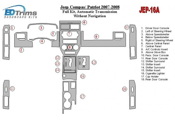 Jeep Compass 2007-2008 Full Set, Automatic Gear, Without NAVI Interior BD Dash Trim Kit Car Tuning Interior Tuning Interior Cust
